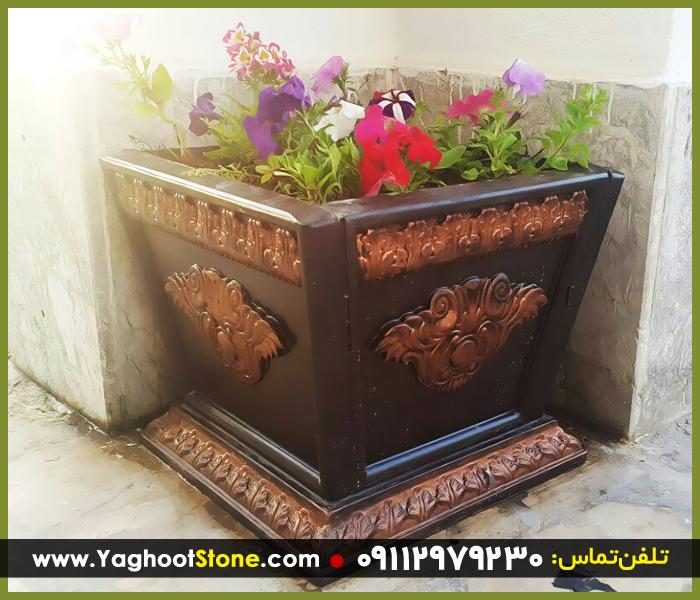 گلدان سنگی مربعی گرد و مستطیلی بزرگ و مجلل سنگ طبیعی